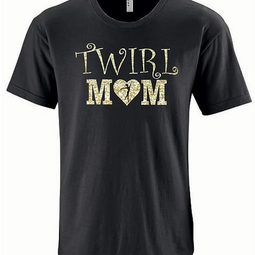 Fancy Twirl Mom - Black/Gold Glitter