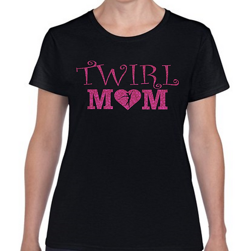 Fancy Twirl Mom -Black/Hot Pink Glitter