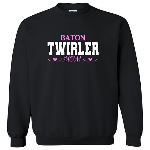 Baton Twirler Mom with hearts - Crew Sweatshirt