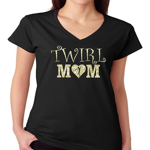 Twirl Mom - Curly V Neck