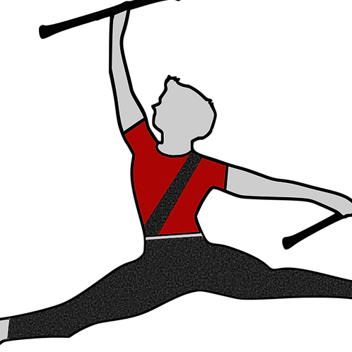 Baton Twirler -Grey - Red shirt