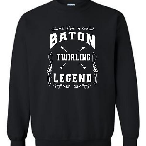 Baton Twirling Legend  (Dark Heather Grey or Black)