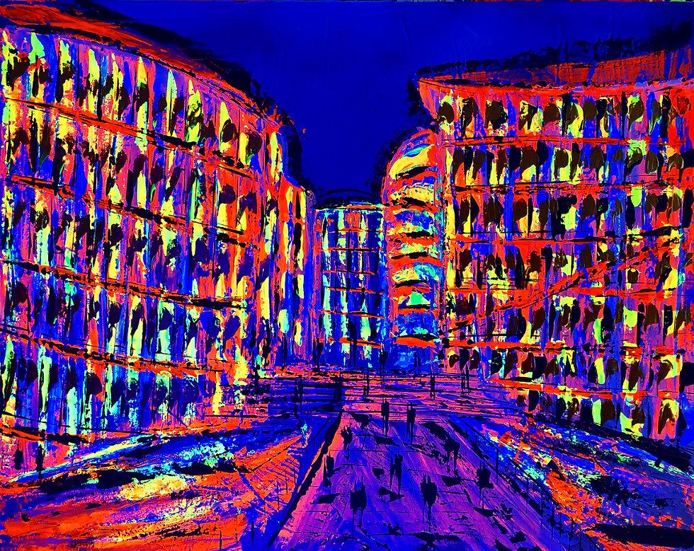 Buntes Bild von Gebäuden mit fluoriszierenden Farben