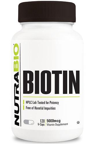 Nutrabio Biotin 5000mcg 120 Vegetable Capsules