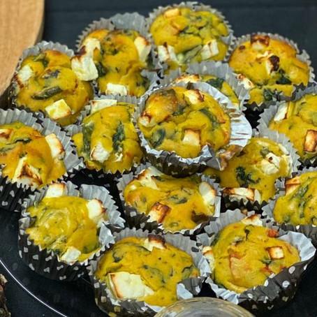 Les recettes du tea time - muffins salés rouge, jaune et vert
