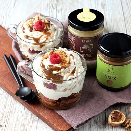 Verrine à la crème de noix, spéculoos et framboise