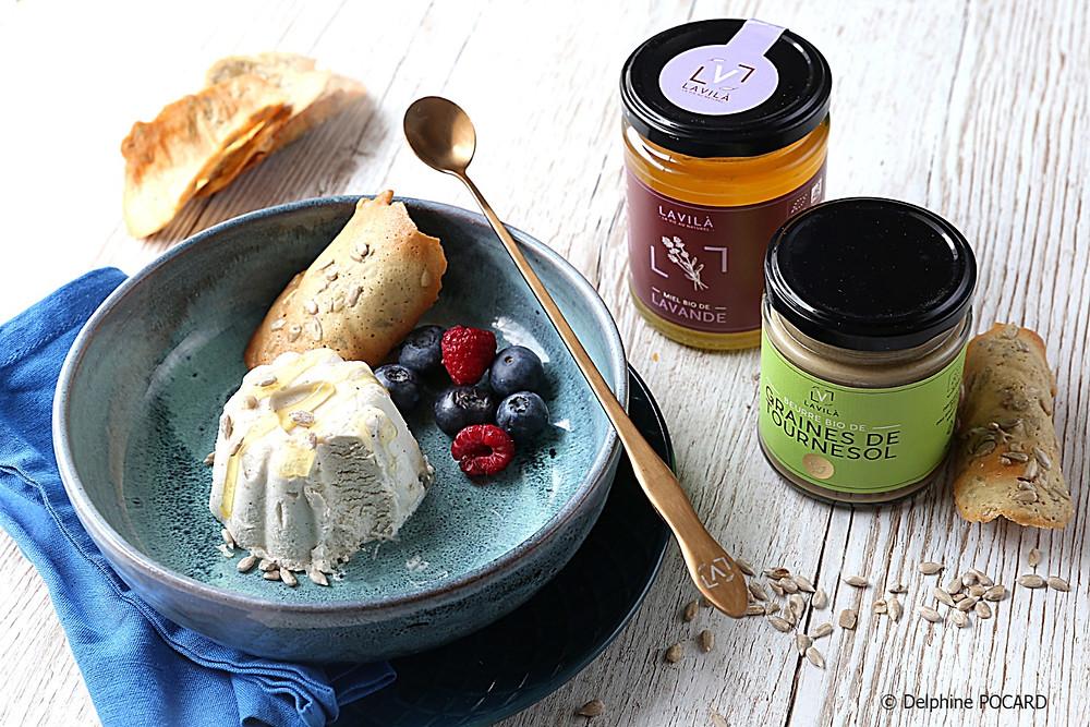 Glace halva miel et tournesol