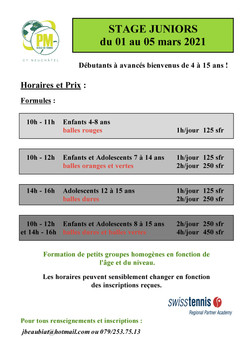 Stages juniors du 1er mars 2021