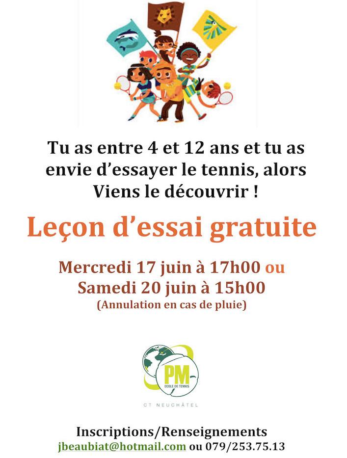Invitation leçon gratuite Kidstennis