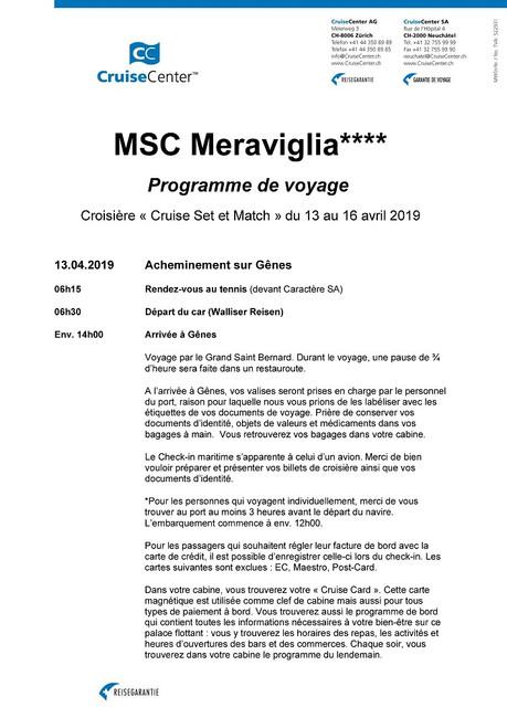 Programme du voyage (croisière 2019)