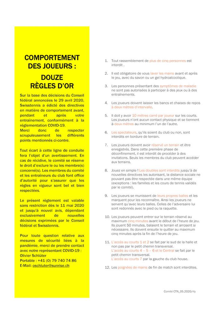 Règlement Swisstennis. Covid-19