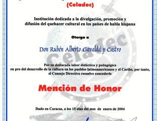 Celadec distinguió al Prof. Gavaldá y Castro