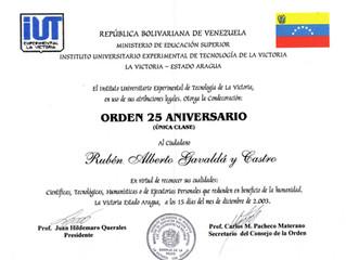 El Instituto Universitario Experimental de Tecnología de la Victoria distinguió al profesor Gavaldá