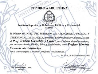 Rubén Gavaldá y Castro, Profesor honoris causa del Instituto Superior de RR.PP. y Ceremonial