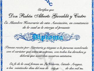 Prof. Gavaldá y Castro Miembro honorario de la Asociación de Escritores de La Victoria