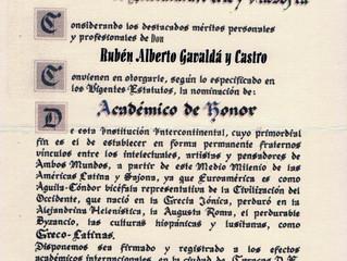 La Academia Euroamericana de Literatura, Arte y Filosofía distinguió al Señor Rector del CAECBA