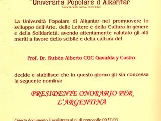 """La """"Universitá Popolare d´Alkantar"""" designó Presidente honorario para la Argentina"""