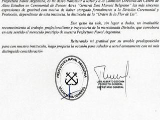 División Ceremonial y Protocolo de la Prefectura Naval Argentina fue distinguida por el Instituto CA