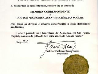 La Academia Brasilera de Ciencias Sociales y Políticas distinguió al Prof. Rubén A. Gavaldá y Castro