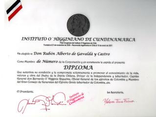 El Instituto O´Higginiano de Cundinamarca distinguió al profesor Rubén Alberto Gavaldá y Castro
