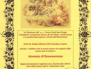 El Centro Studi San Giorgio concedió un Certificado de Mérito al profesor Gavaldá y Castro