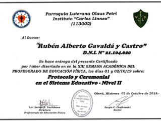 """El Instituto """"Carlos Linneo"""" distingue al Prof. Rubén Alberto Gavaldá y Castro"""