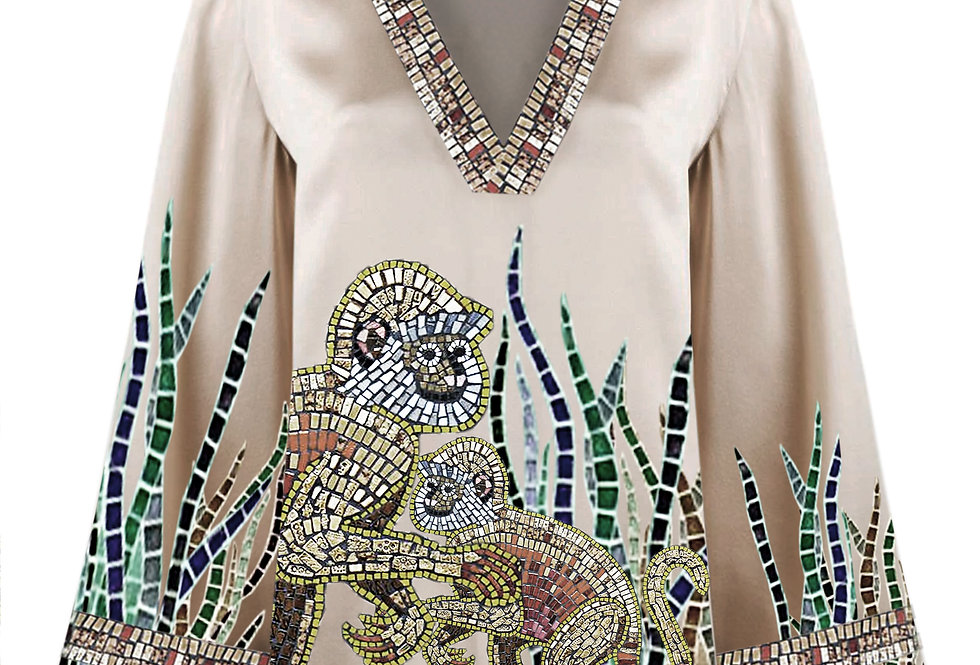Mosaic monkey blouse
