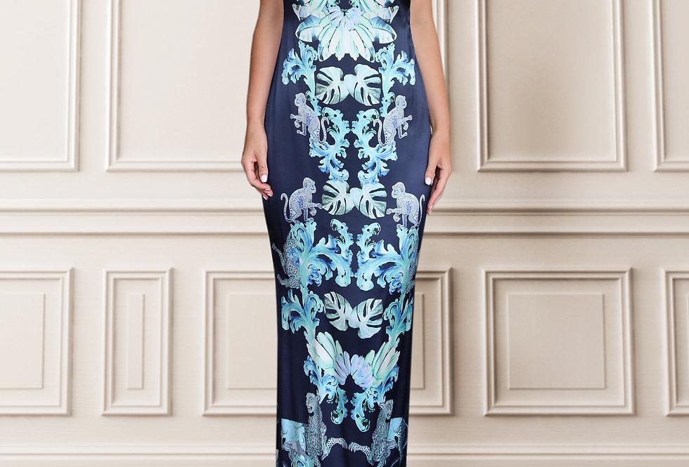 Silk slip dress - Navy with aqua jungle print