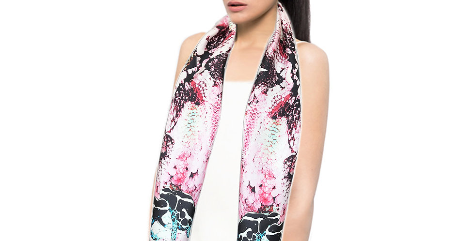 Frogs and Feathers - Skinny scarf - Pink