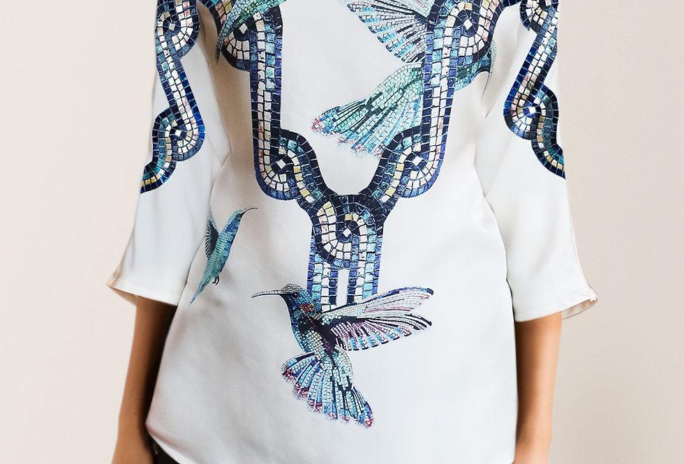 Kimono blouse - Hummingbird print