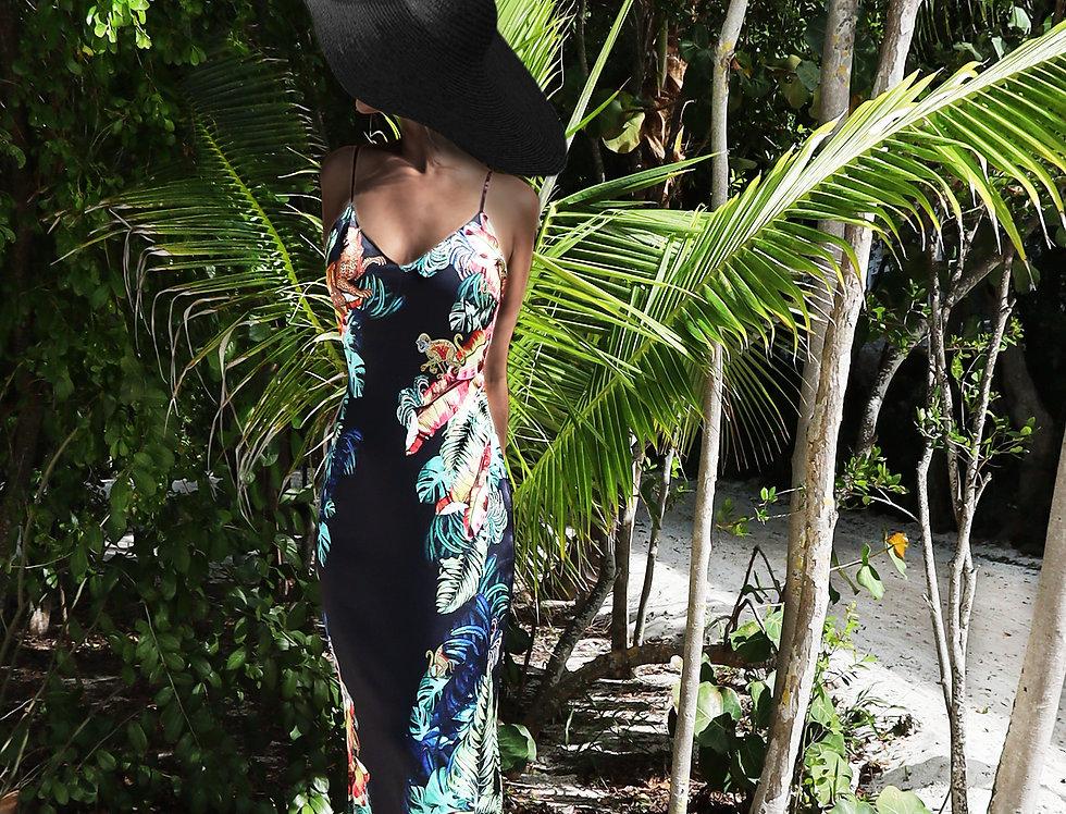 Silk slip dress - Jungle print