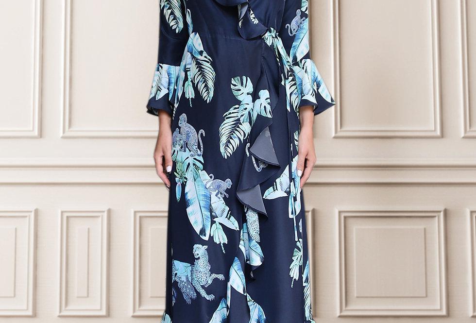 Silk wrap dress - Aqua jungle print (Midi)