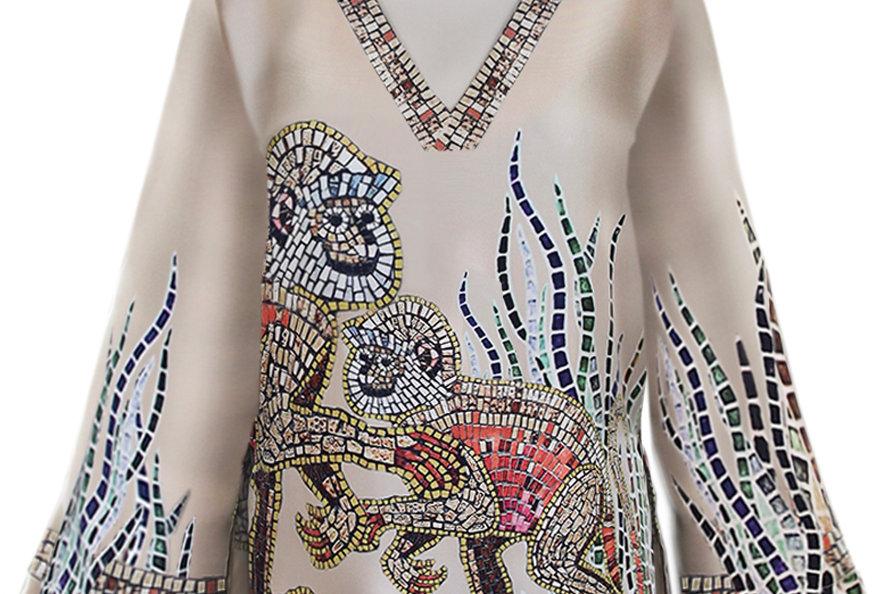 Silk blouse - Mosaic monkey print