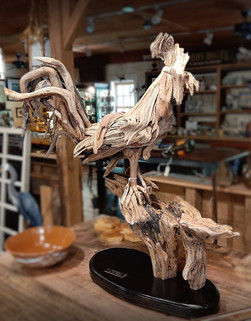 """Driftwood sculptures by Larry Ringgold """"Cockey"""""""