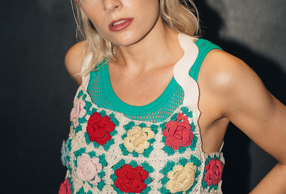 Sustainable floral crochet top