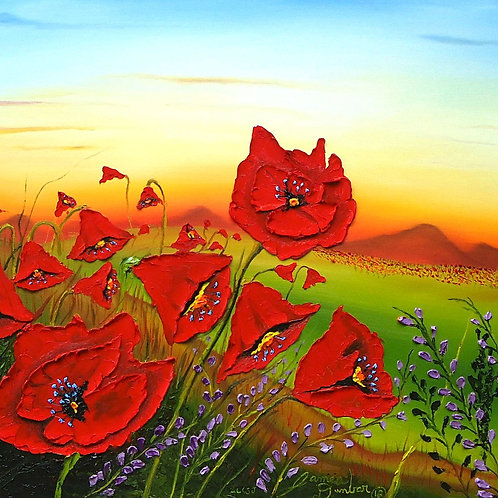 Field Of Red Poppies #4
