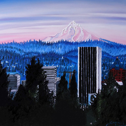 Mount Hood Over The City Of Portland #1