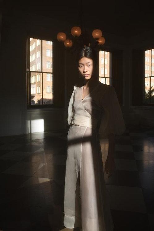 Kamperett   Loretta Silk Organza Midi Dress w/ Slip Dress