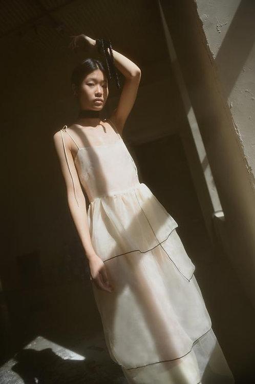 Kamperett | Laurence Tiered Silk Organza Midi Dress w/ Slip Dress