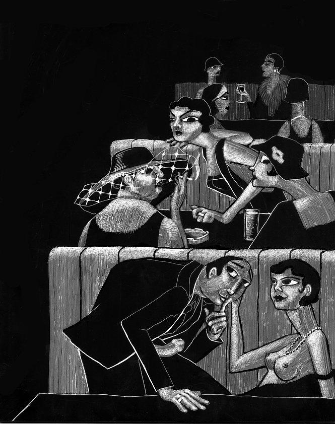 scratchboard, maggie tseng, 1920s, secret, tryst, lust, sex, passion, public, illustration, art, risd, illustrator