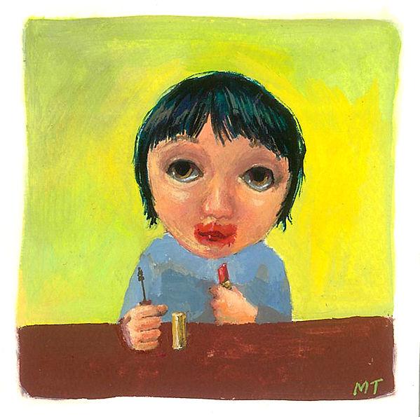 acrylagouache, girl, lipstick, makeup, illustration, painting, drawing, risd, illustrator