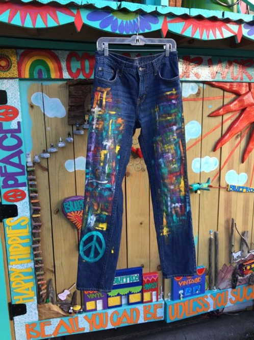 Hand painted splatter denim pants