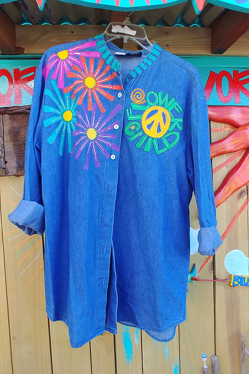 One of a kind, Hand painted ladies long sleeve hippie baby boomer shirt flower child