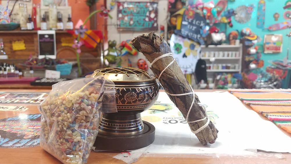 resin burner, yerber wand, and celtic blend incense