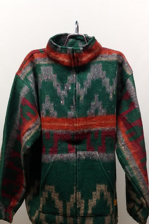 Orange-Green Brushed Zip Up Jacket