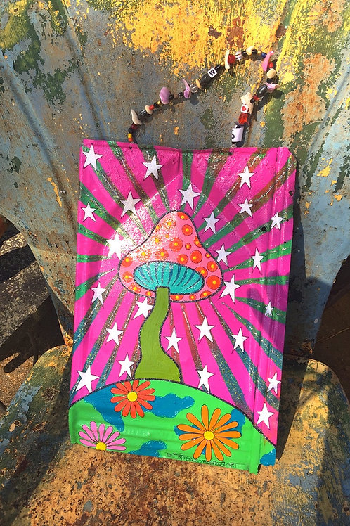 colorful mushroom and flowers hand painted wall art