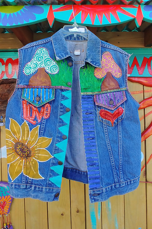 technicolor vest hand painted, reminisce of the Woodstock hippie era.
