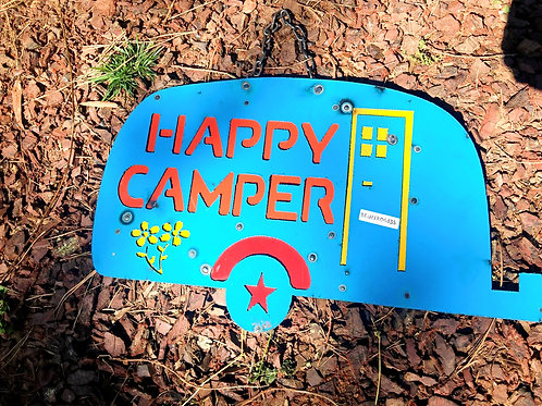 happy camper metal sign