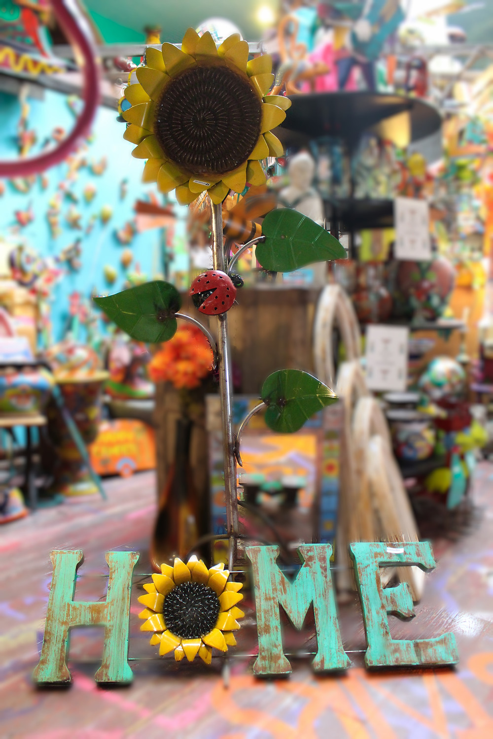 metal yard art metal animals hippie boho sunflower sign
