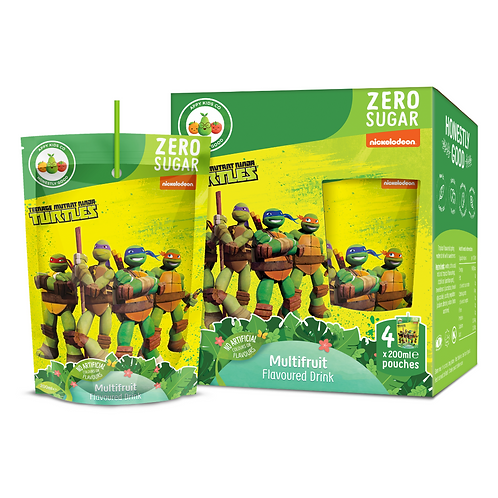 Appy Kids Co TMNT Zero Sugar Multi Fruit Flavoured Drink 200ml